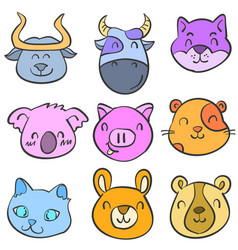 Doodle of animal cute funny style for kid vector