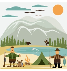 flat design with fisherman and hunter vector image