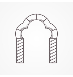 Flat line trefoil arch icon vector image