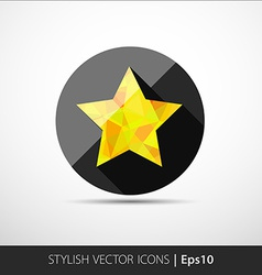 Flat polygonal star icon vector