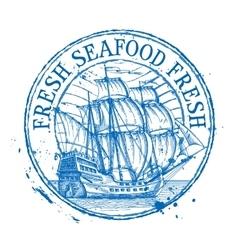 Fresh seafood logo design template shabby vector