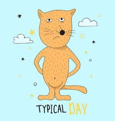 Hand drawn funny red cat with hand drawn lettering vector