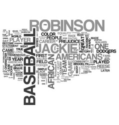 Jackie robinson text background word cloud concept vector