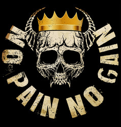 king skull t shirt graphic design vector image vector image