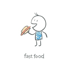 man eat a hot dog vector image vector image