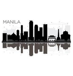 Manila city skyline black and white silhouette vector
