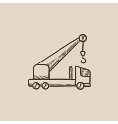 Mobile crane sketch icon vector