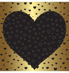 Romantic gold foil design with hearts valentine s vector