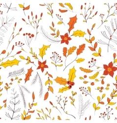 Seamless autumn garden pattern vector