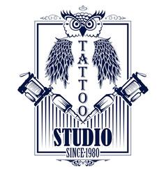 Tattoo art design of owl bird with tattooing vector