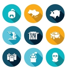 Ukraines energy problems icons set vector