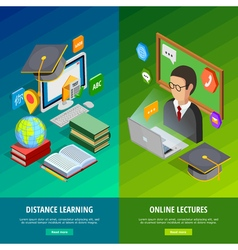 Online learning vertical banners set vector