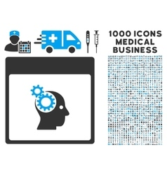 Brain wheels calendar page icon with 1000 medical vector