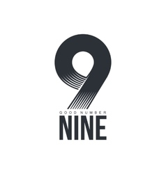 Black and white technological number nine logo vector
