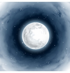 Vortex of Clouds Around the Full Moon Mystical vector image