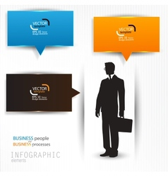 Colorful speech bubbles template with business man vector