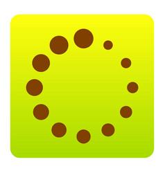 circular loading sign brown icon at green vector image