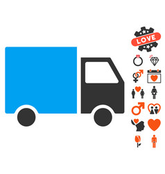 Delivery van icon with dating bonus vector