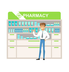 Man manager in pharmacy choosing and buying drugs vector