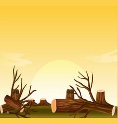deforestation scene at sunset vector image