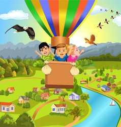 Children flying with balloon vector