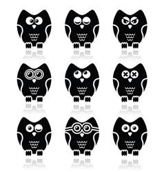 Owl cartoon character icons set vector image