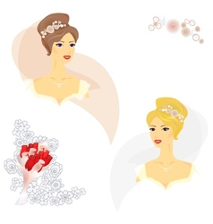2 beautiful women in wedding dress vector