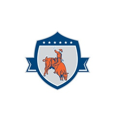 Rodeo cowboy bull riding retro shield vector