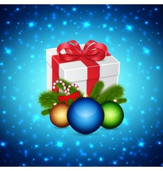 Gift with christmas balls vector