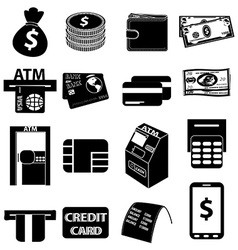 ATM money icons set vector image