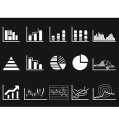 white graph chart icon on black background vector image