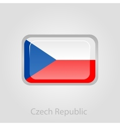 Czech republic flag button vector