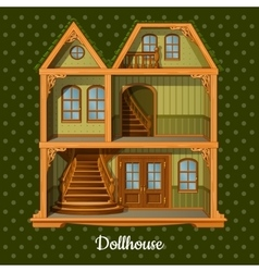 Modern three-storey dolls house vector