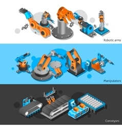 Industrial robot banner set vector