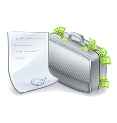 Suitcase full of money vector