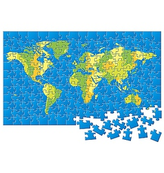 World map puzzle vector