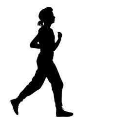 Silhouettes runners on sprint women vector