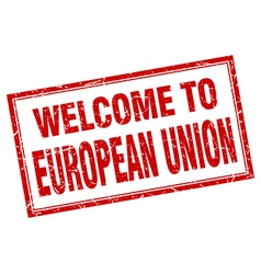 European union red square grunge welcome isolated vector