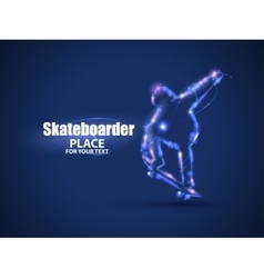 Motion design skateboarder jump on skateboard vector
