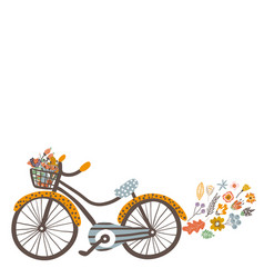 autumn background with bike and floral elements vector image