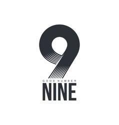 Black and white technological number nine logo vector image vector image