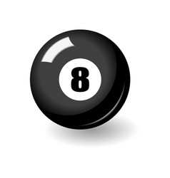 Black billiard ball with number eight on its side vector