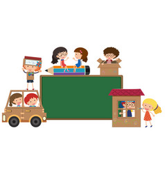 border template with kids playing vector image