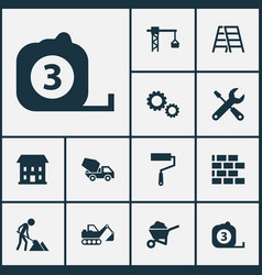 Building icons set collection of cement vehicle vector