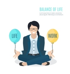 Businesswoman meditating vector