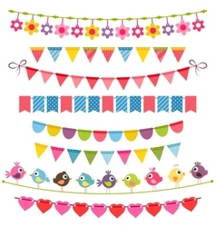 Colorful flags bunting and garlands vector image vector image