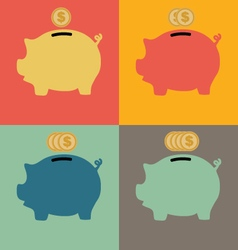 Colorful piggy bank icon vector