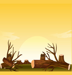 Deforestation scene at sunset vector