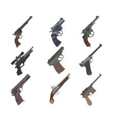Firearm set guns pistols revolvers flat design vector
