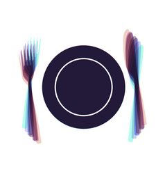 Fork knife and plate sign colorful icon vector
